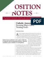 Catholic Answers Opposition Notes