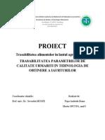 Trasabilitatea Parametrilor de Calitate in Tehnologia de Obtinere a Iaurturilor