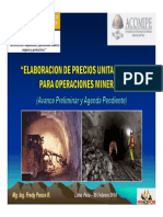 Elaboracion de Precios Unitarios Base Para Operaciones Mineras