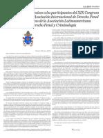 Carta Del Papa Francisco a La ALPEC y AIDP 2014