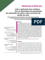 Caracterização e Aplicação Dos Resíduos Solidos Gerados Na Fabricação Do Pcc Como Corretivo de Acidez