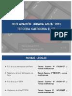 Declaracion Jurada Anual 2013 Tercera Categoria e Itf