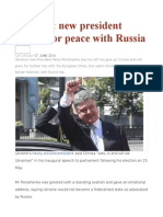 Ukraine New President Pushes for Peace With Russia