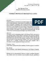 Nombres Propios de Procedencia Latina