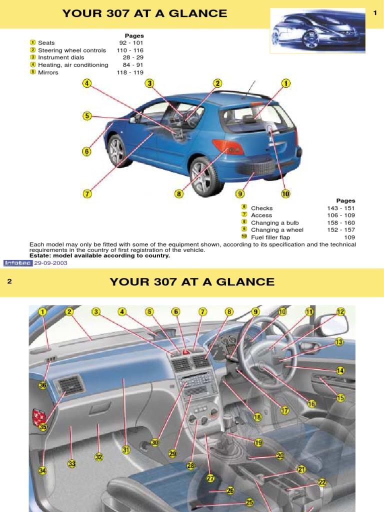 Peugeot 307 Owners Manual 2003 | Anti Lock Braking System | Manual  Transmission
