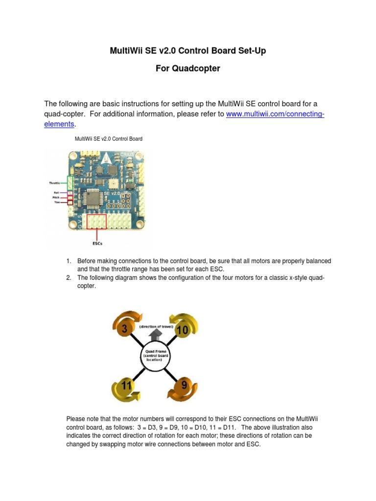 Hurc Multiwii Se V2 Quick Start Guide 8513 Aileron Quadcopter Flight Controller Wiring Diagram