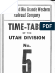 D&RGW Utah Division Employee Timetable #5 Oct 1 1965