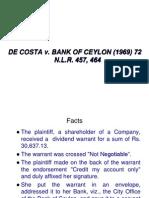De Costa v Bank of Ceylon