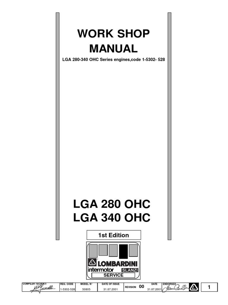 Work Shop Manual LGA 280-340 Matr 1-5302-528   Internal Combustion Engine    Motor Oil