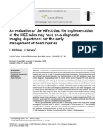An Evaluation of the Effect That the Implementation of the NICE Rules May Have on a Diagnostic Imaging Departemen for the Early Management of Head Injuries