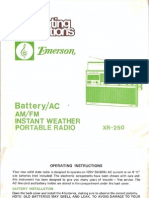Emerson XR-250 Operating Instructions