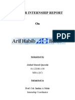 Internship Report on Arif Habib Bank Limited Pakistan