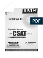 UPSC, IAS, IFoS, CSE, GS - Paper II (CSAT) Information Brochure for Hyderabad Coaching centre
