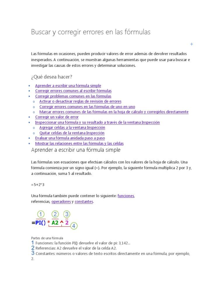 Buscar y Corregir Errores en Las Fórmulas