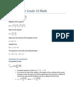 Formulas for Grade 10 Math