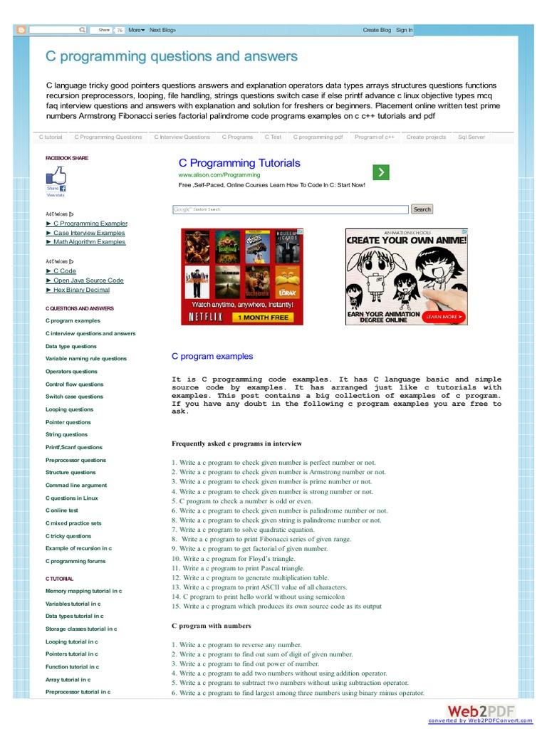 Www Cquestions Com | Area | C (Programming Language)