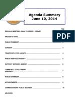 Agenda Summary 6-10-2014