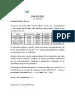 Comunicado Nro 05-2013 Cambio de Itin