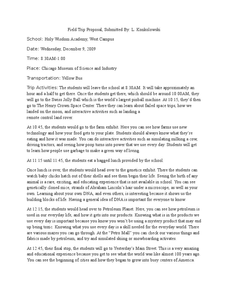 field trip proposal science science and technology