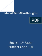 Model Test Afterthoughts