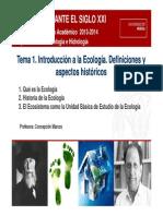 EcologIa as t1 Introduccion a La Ecologia 2013 2014