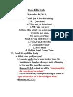 Home Bible Study Outline 9 14 2013