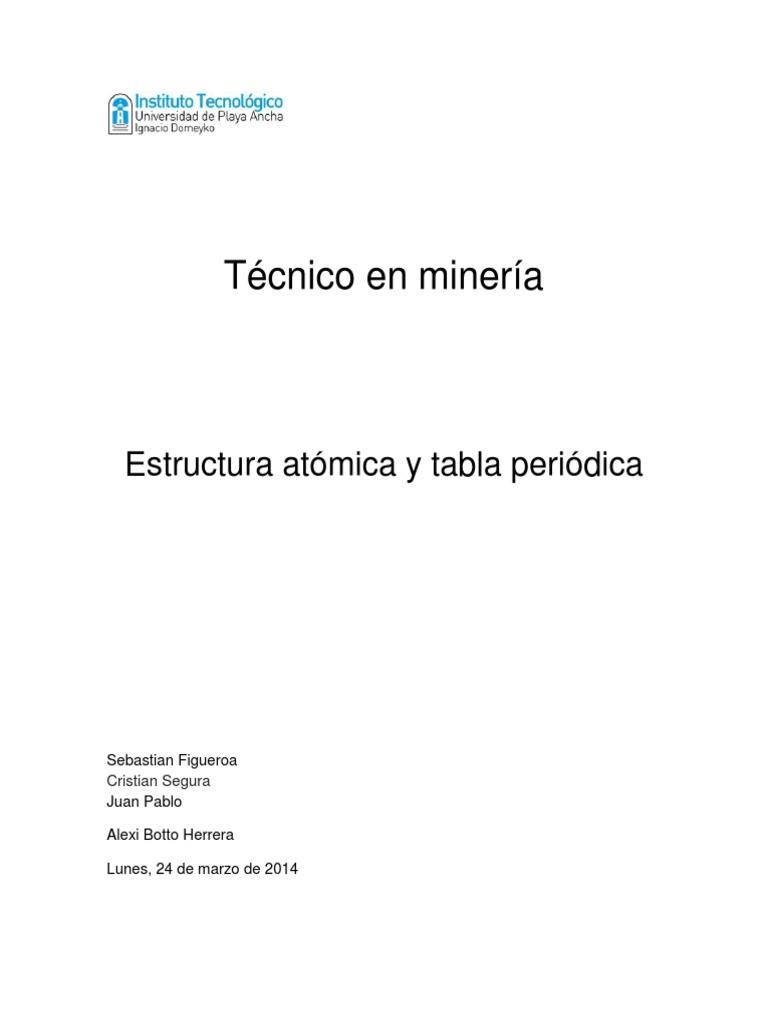 quimica 1 estructura atmica y tabla peridicadocx - Tabla Periodica Y Estructura Atomica