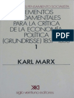1857 1858 Karl Marx Grundrisse Volumen 1 Elementos Fundamentales Para La Critica de La Economia Politica