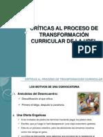 Críticas Al Proceso de Transformación Currícular UPEL