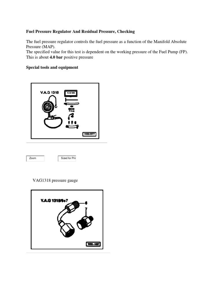 2004 vw passat fuel pressure check   Pump   Pressure Measurement
