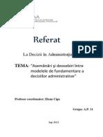 Asemanari si Deosebiri intre Modelele de Fundamentare a Deciziilor Administrative_1.docx