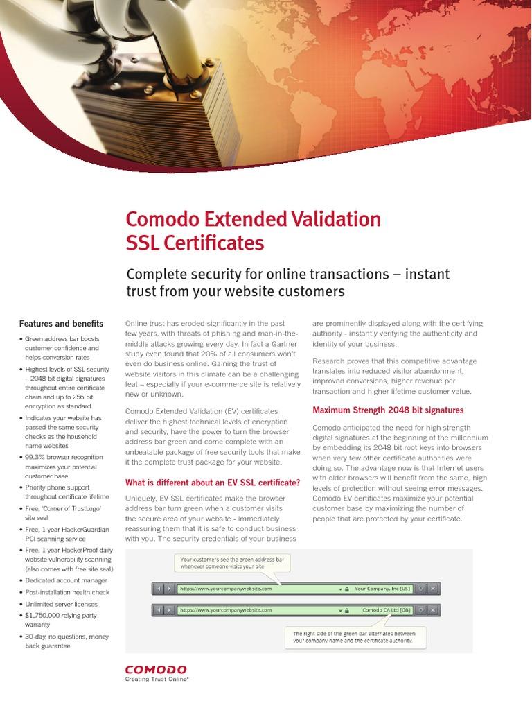 Overview about comodo ev ssl certificate transport layer overview about comodo ev ssl certificate transport layer security public key certificate xflitez Gallery