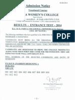 PWC Voc Entrance Results 2014