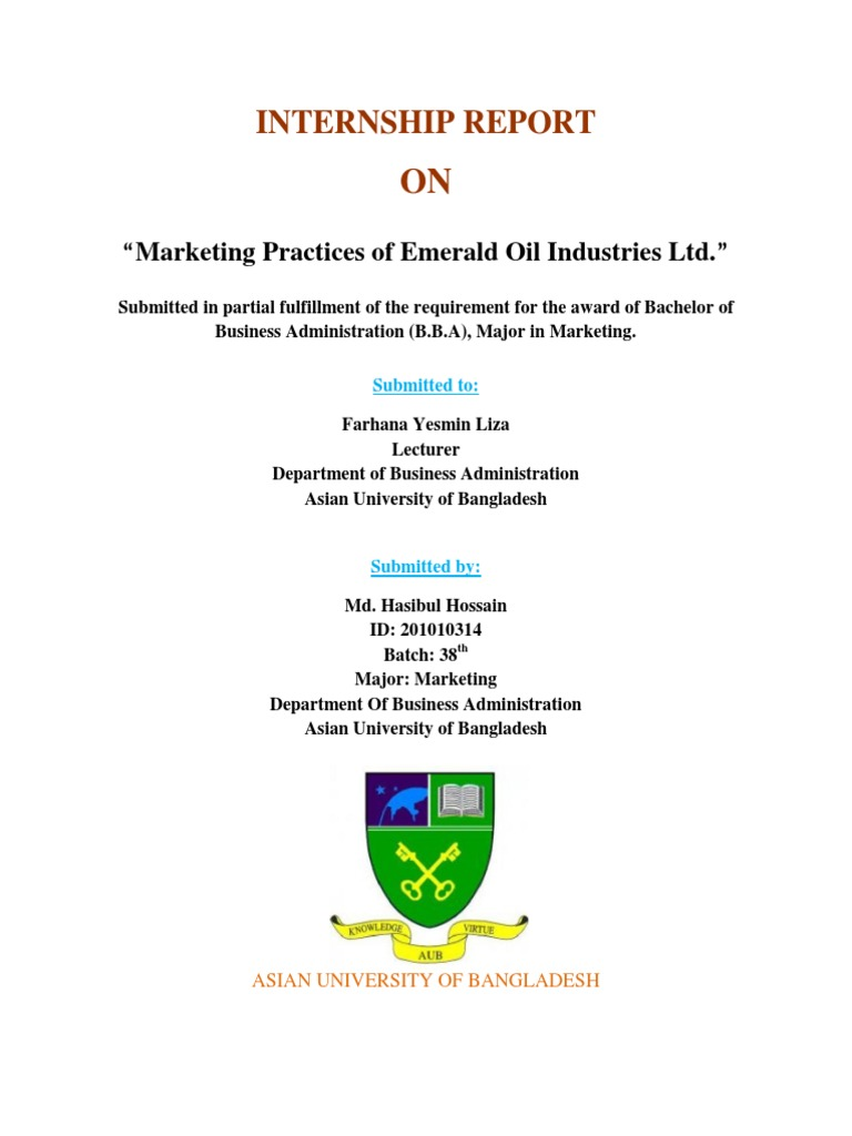 Internship report on Emerald Oil Industries Ltd  | Brand