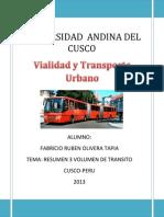 219134578 Resumen 3 VOLUMEN de Transito Urbano Olivera Tapia Fabricio Ruben