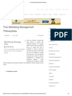 Five Marketing Management Philosophies