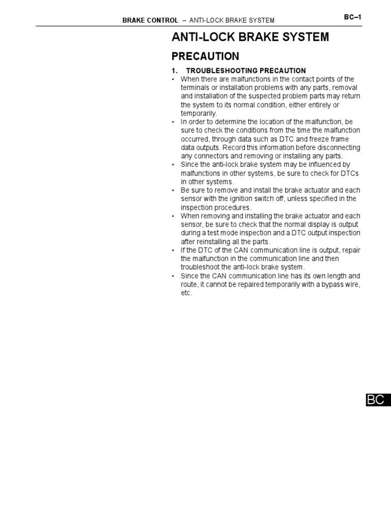 Brake_Control of Toyota Yaris 2007 US pdf | Anti Lock Braking System