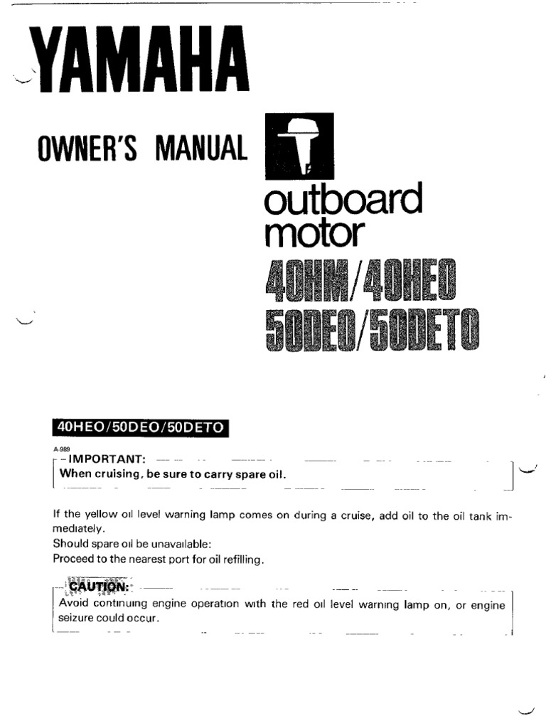 Yamaha Owners Manual 40 50 HP | Gasoline | Throttle