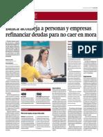 Banca Aconseja a Personas y Empresas Refinanciar Deudas_Gestión 9-06-2014