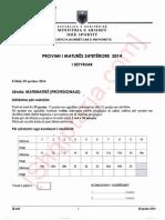 Çelësi i përgjigjeve për provimin e Matematikës, Profesionale