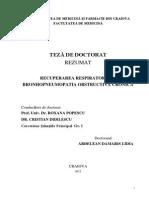 Recuperarea Respiratorie in Bronhopneumopatia Obstructiva Cronica