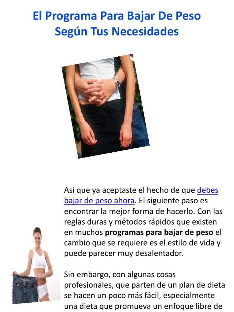 Plan para bajar de peso