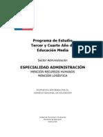 Programa de Estudio Especialidad ADMINISTRACIÓN
