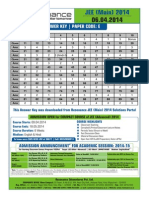 JEE Main Paper 1 Answer Key 2014 Code E