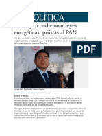 03-06-2014 Milenio.com - Chantaje, condicionar leyes energéticas, priistas al PAN.