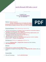 Sample Resume for .net developers