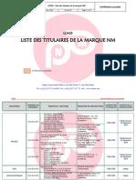 LCP05- Liste Des Titulaires de La Marque NM