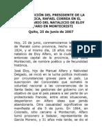 2007-06-25 Discurso Aniversario Natalicio de Eloy Alfaro