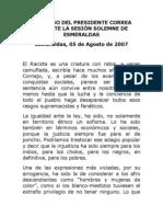 2007-08-05 Discurso Sesión Solemne de Esmeraldas