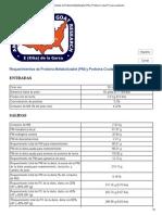 Requerimientos de Proteína Metabolizable (PM) y Proteína Cruda (PC) Para Lactación Ejercicio